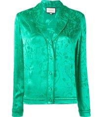 alexis floral print pajama-style blouse - green