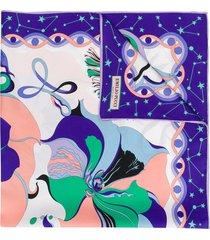 emilio pucci mirabilis print silk-twill square scarf - pink