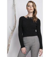 sweter dopasowany w prążek czarny