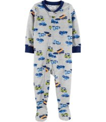 carter's baby boy 1-piece trucks poly footie pjs