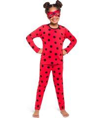 pijama fantasia veggi ladybug longo - vermelho - menina - algodã£o - dafiti