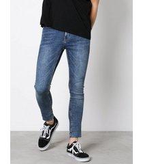new look zak raw hem crop s skinny jeans blue