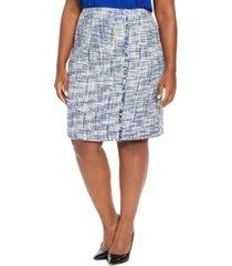 calvin klein plus size tweed fringe-trim pencil skirt