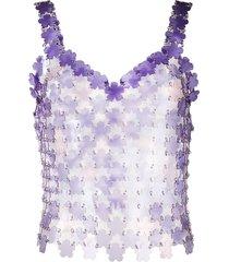 paco rabanne flower-pailette chainmail top - purple