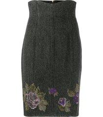 a.n.g.e.l.o. vintage cult 1990s flower motif denim skirt - grey