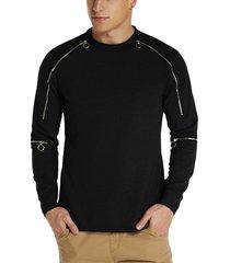 modchok hombre zip diseño algodón crew cuello jumper sudadera casual
