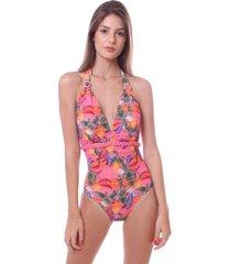 maiô simony lingerie cavado frente unica com bojo luna beach rosa
