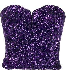 amen sequin-embellished bustier blouse - purple