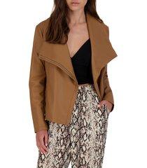 women's bb dakota up to speed faux leather moto jacket, size x-small - brown