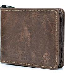 carteira de couro de ziper hendy bag caramelo estonado