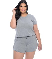 conjunto plus size join curves cinza mescla t-shirt e shorts