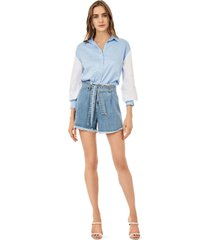 shorts iodice linha a com faixa jeans - jeans - feminino - dafiti