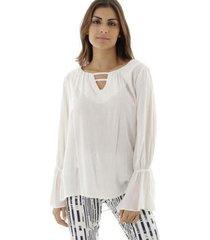 blusa manga longa com duplo decote v com faixa aha feminina - feminino