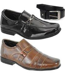 kit 2 pares sapato social infantil e 1 cinto leoppé em couro - masculino