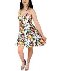 emerald sundae juniors' floral-print a-line dress