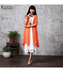 zanzea verano de las mujeres flojas ocasionales de las blusas de lino cardigan blusas femenino elegante medio de la manga de la manera larga outwear el tamaño extra grande (rojo anaranjado) -naranja