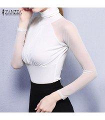 zanzea malla elástica tops atractivo de las mujeres considera a través camisa de manga sheer casual tamaño de manga larga delgada del remiendo blusas blusas plus (blanco) -blanco