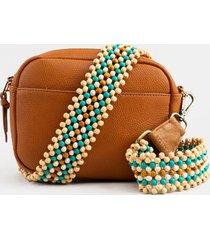 leah wood beaded handbag strap - blue