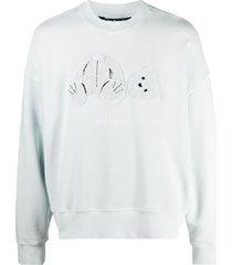 palm angels teddy bear-patch cotton sweatshirt