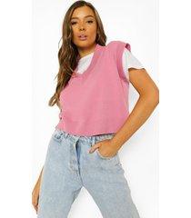 kort gebreid hemd met v-hals, dusky pink