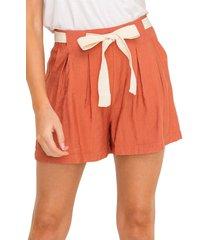 women's all in favor front tie pleated shorts, size medium - orange