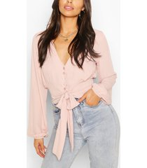 geweven blouse met knopen en strik, blush