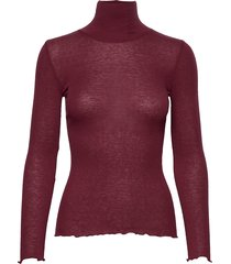 wool t-shirt turtleneck regular ls turtleneck polotröja röd rosemunde