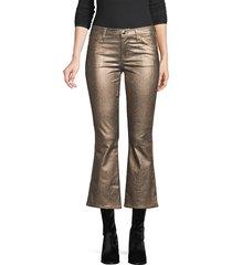j brand women's selena mid rise metallic pants - bronze - size 24 (0)