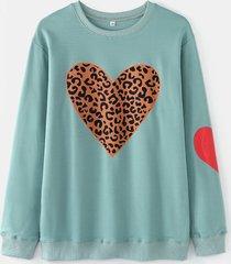 love leopard print o-collo manica lunga plus camicetta in cotone taglia
