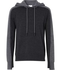 black and grey wool hoodie