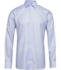 blue micro weave twill shirt overhemd business blauw eton