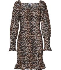 cotton silk korte jurk bruin ganni