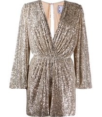 in the mood for love bree plunge-neck sequin playsuit - neutrals