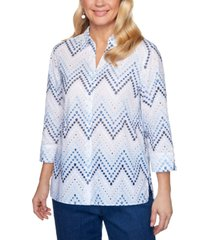 alfred dunner petal pushers printed embroidered eyelet woven blouse