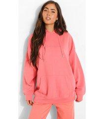 oversized geborduurde woman hoodie met tekst, coral