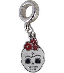 berloque papillô joias caveira mexicana resinado, ródio branco prata