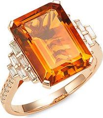 14k rose gold, diamond & madera citrine cocktail ring