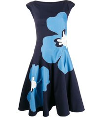 talbot runhof floral print waffle piqué dress - blue