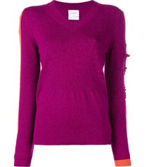 barrie new romantic cashmere v-neck pullover - pink