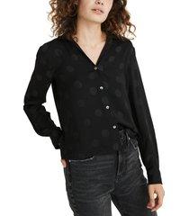 women's madewell jacquard dot pajama top, size xx-small - black