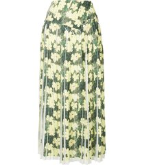 3.1 phillip lim floral pleated skirt - yellow