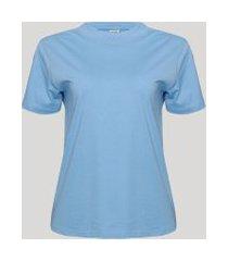 t-shirt feminina mindset básica manga curta decote redondo azul claro