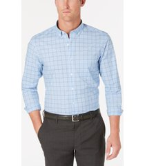 club room men's grid pattern performance shirt, created for macy's