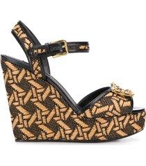 dolce & gabbana dg amore braided wedge sandals - neutrals
