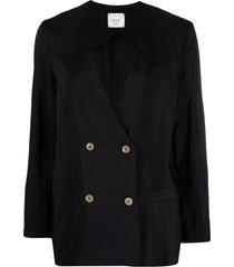 alysi double-breasted v-neck jacket - black