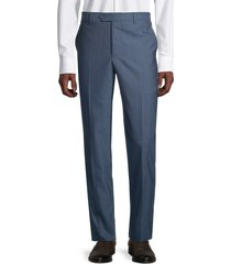 saks fifth avenue made in italy men's solid wool trousers - teal - size 42