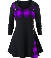 plus size grid pattern button longline high waist shirt