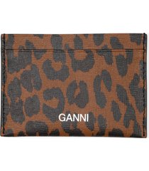 women's ganni leather card case - brown
