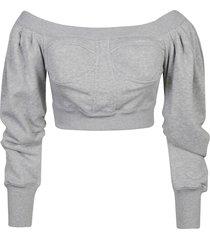 philosophy di lorenzo serafini wide neck cropped sweatshirt