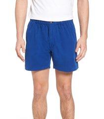 men's vintage 1946 snappers elastic waist 5.5 inch stretch shorts, size medium - blue